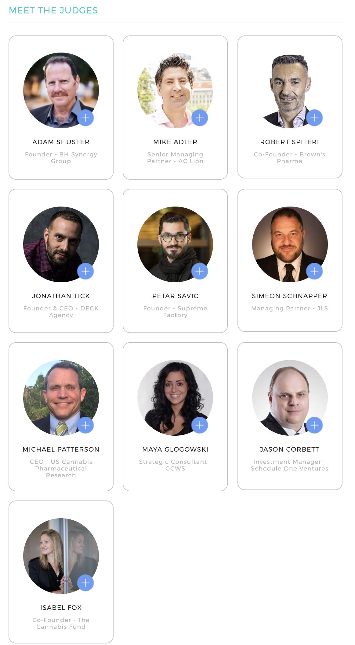 Hep, CBD, Cannabis Startup pitch judges