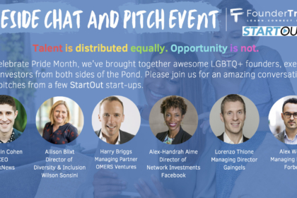 Banner for the Pride event Join FounderTribes and StartOut entrepreneurs as they discuss their journeys as LGBTQ founders.